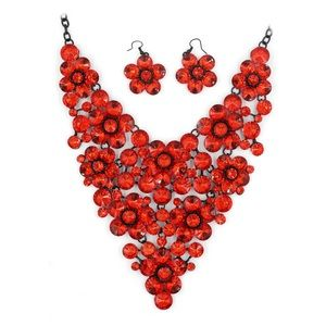 Red crystal flowers necklace set